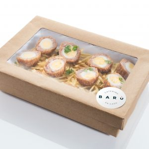Caja de huevos escoceses. Canapés calientes. Tapas a domicilio Madrid